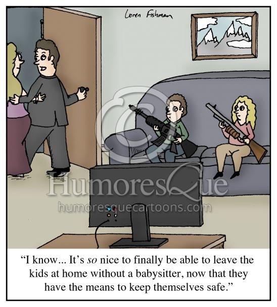 kids with assault weapons gun control cartoon