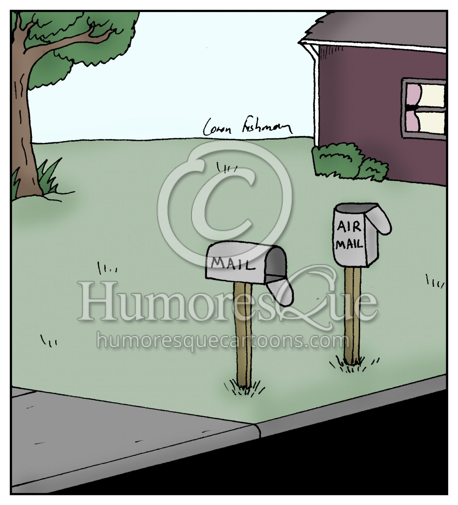 air mail box postal delivery cartoon