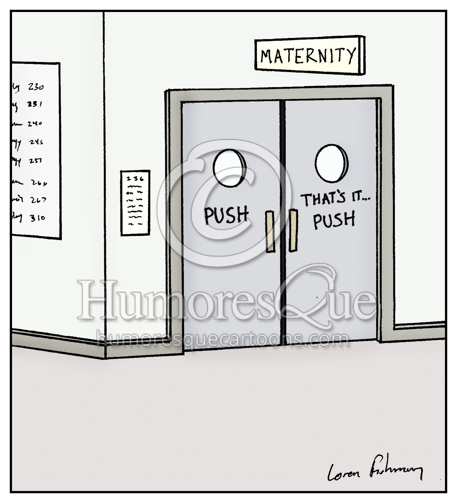 maternity doors pregnancy hospital cartoon