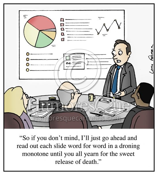 boring powerpoint presentation office meeting cartoon