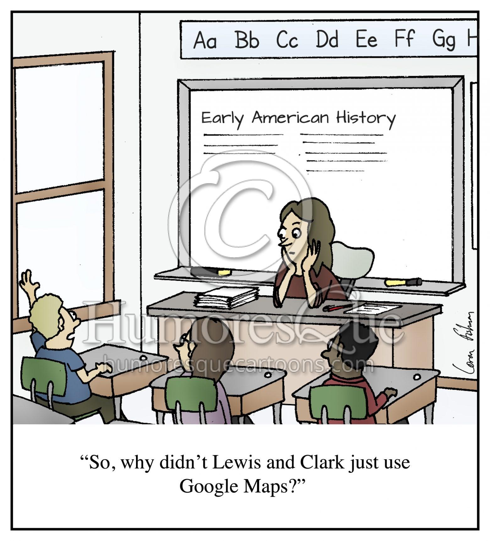 Lewis and Clark Google Maps Education Teacher Cartoon
