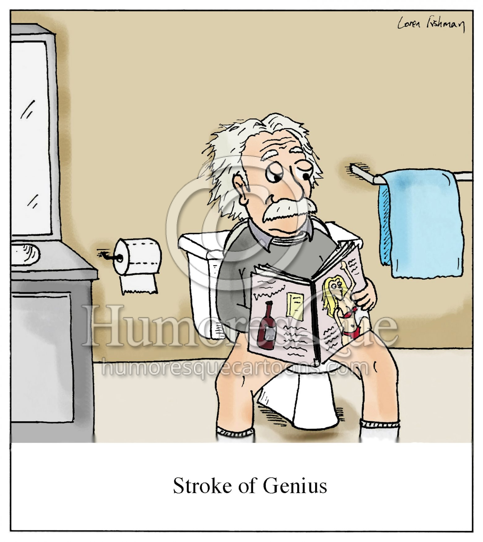 Stroke of Genius Einstein Cartoon