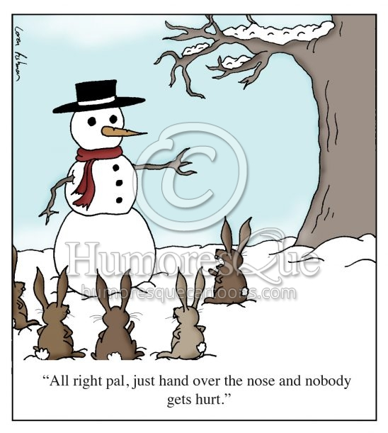 Rabbits robbing a snowman for a carrot nose cartoon