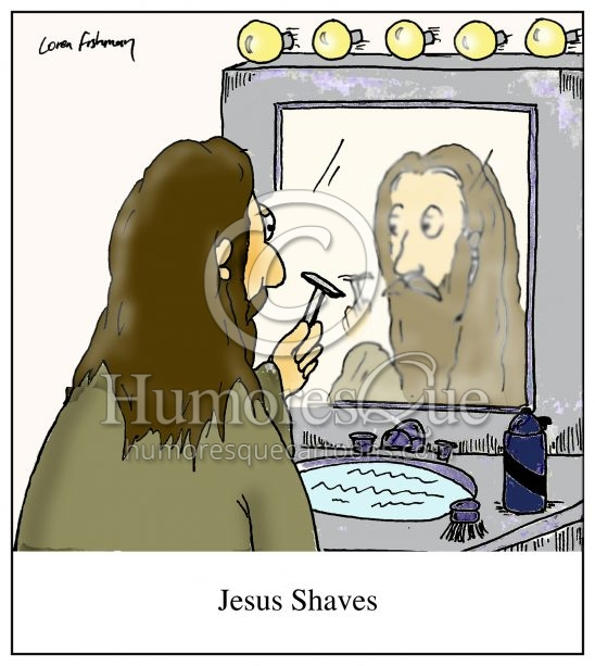 Jesus shaves cartoon