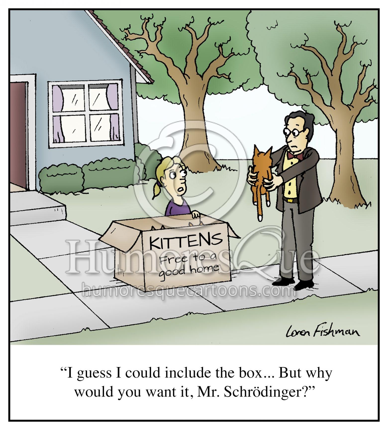 Schrödinger's Cat funny physics and quantum mechanics cartoon