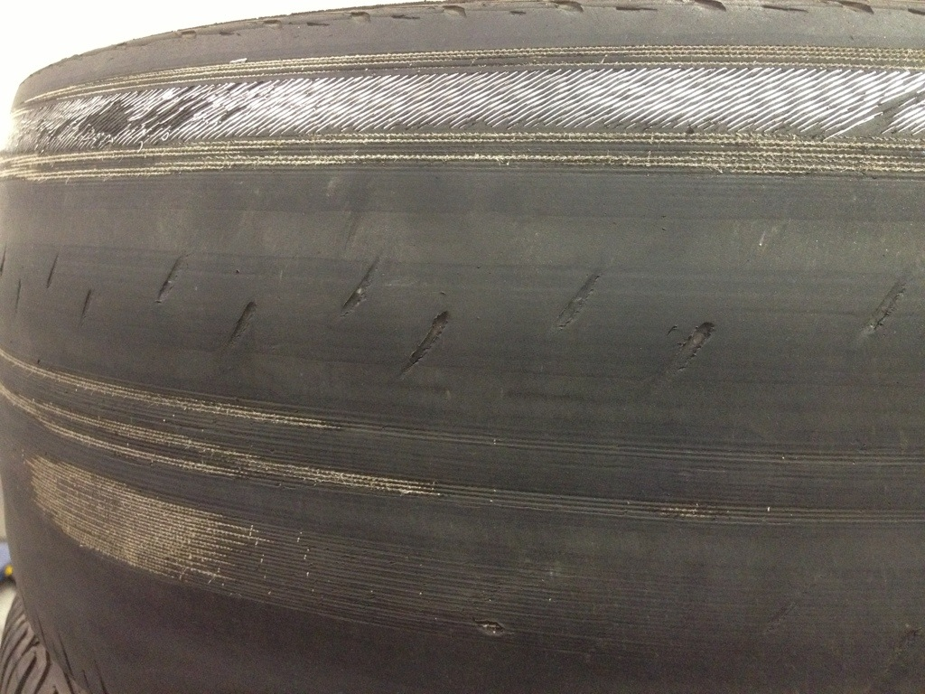 Tire damage due to bad alignment