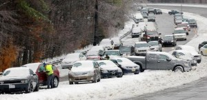 Cars stuck in Snow Storm