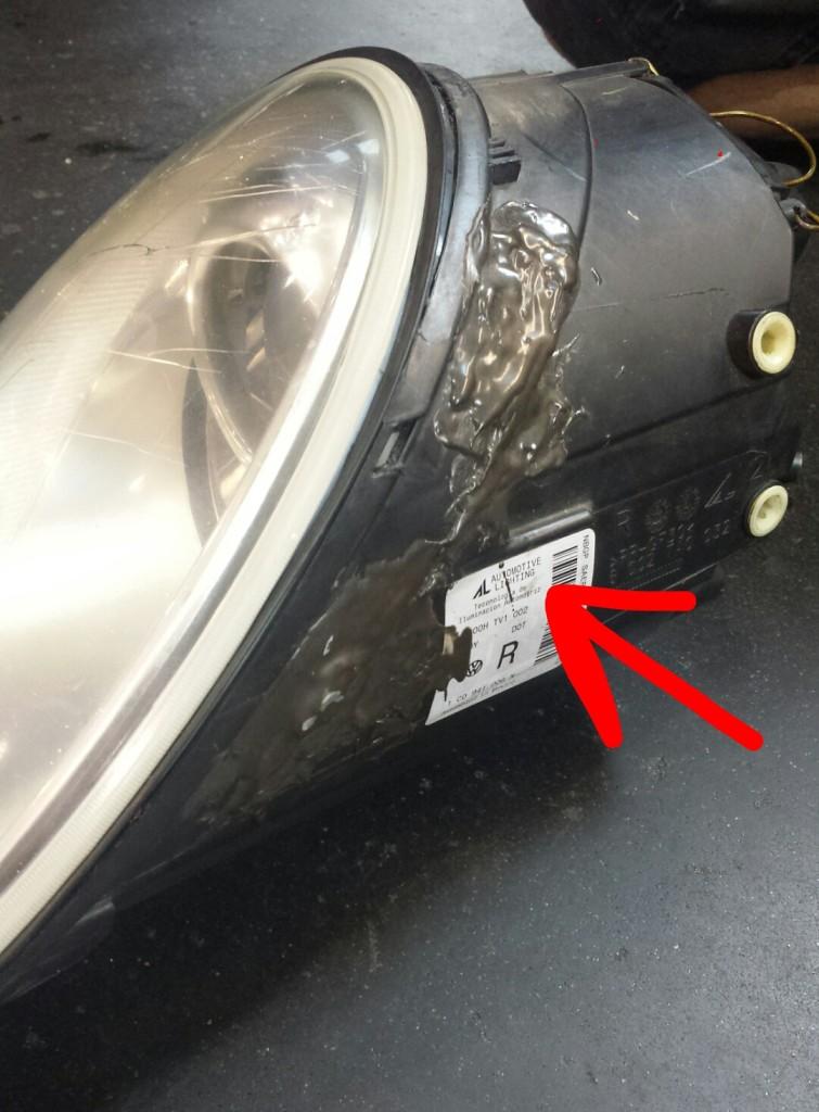 damaged VW beetle headlight