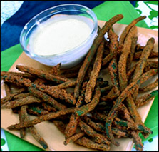 HG's Fiber-Fried Green Beans with Spicy Cucumber Ranch Dip