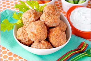 Hungry Girl's Buffalo Wing Meatballs with Ranch Dip