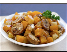 Hungry Girl's Chicken Sausage 'n Squash Foil Pack
