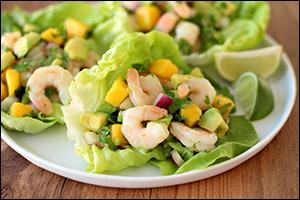Hungry Girl's Shrimp & Avocado Lettuce Tacos