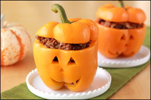 Hungry Girl's Taco Jack-O'-Lantern Stuffed Peppers