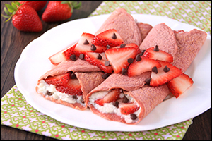 Hungry Girl's Strawberry Red Velvet Crepes