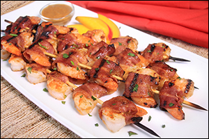 Hungry Girl's Bacon-Mango Shrimp Skewers
