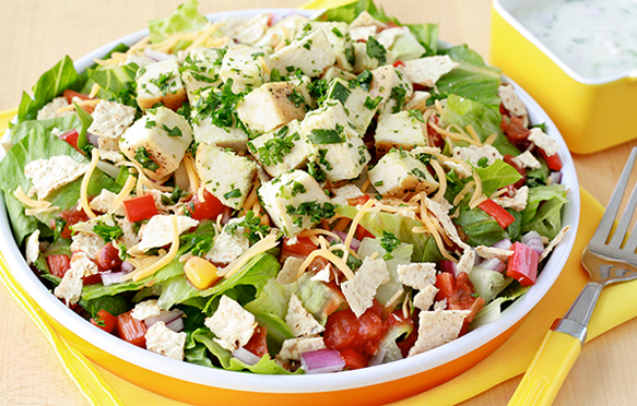 Healthy Fiesta Chicken Chopped Salad Recipe Applebee S Swap Hungry Girl Crock pot fiesta lime chicken is creamy and tasty and sure to impress. healthy fiesta chicken chopped salad