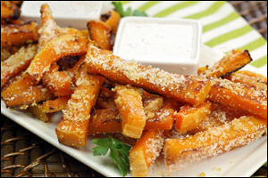 HG's Garlic-Parm Sweet Faux-tato Fries