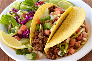 Hungry Girl's Crunchy Beef Tacos with Side Salad