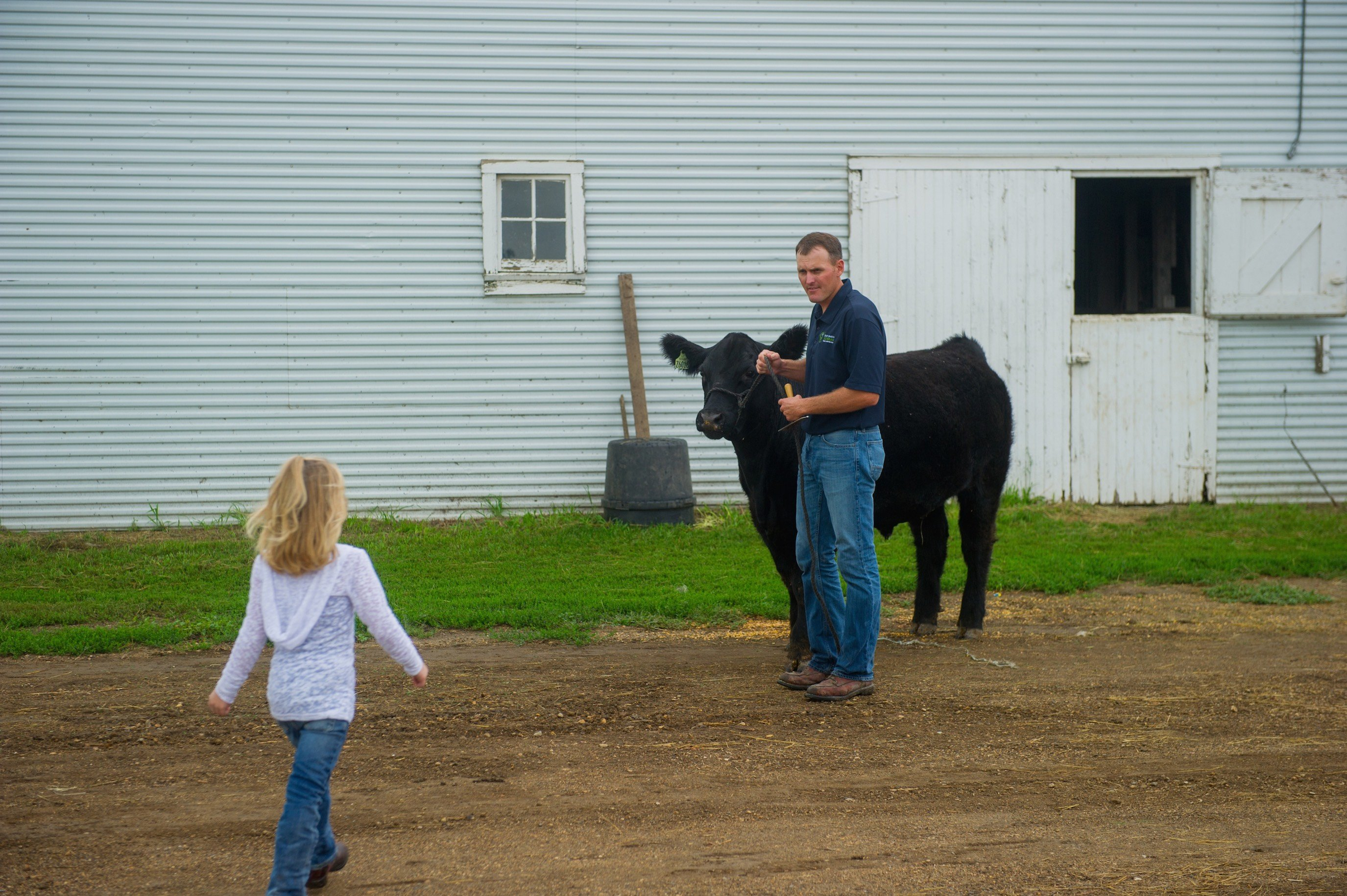 Marc with his daughter and one of his cows on their South Dakota farm.