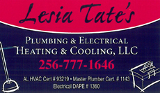 Website for Lesia Tate's Plumbing, Electric, Heating & Cooling