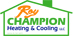 Website for Roy Champion Heating and Cooling, LLC