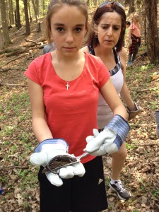 Ashley and Mrs. Maximo rescuing a spotted salamander