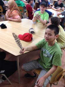 Lucas with a hawk feather