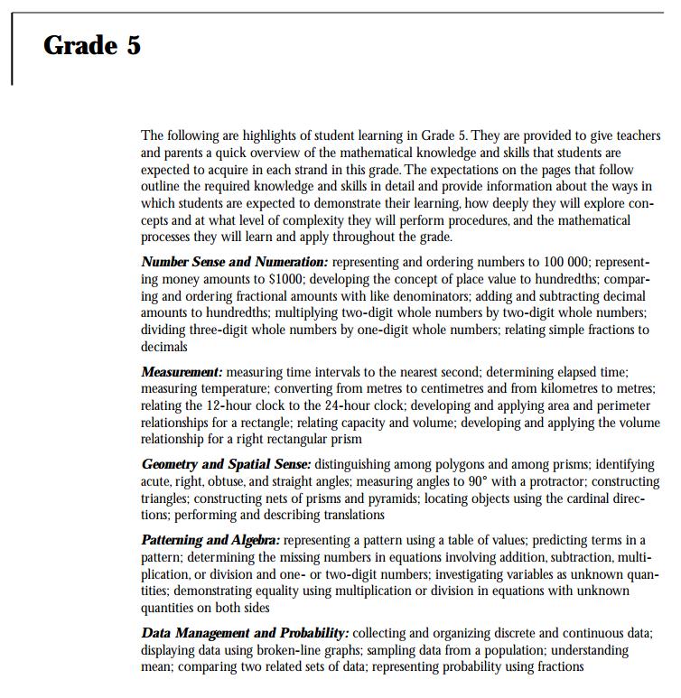 Grade 5 Math Curriculum