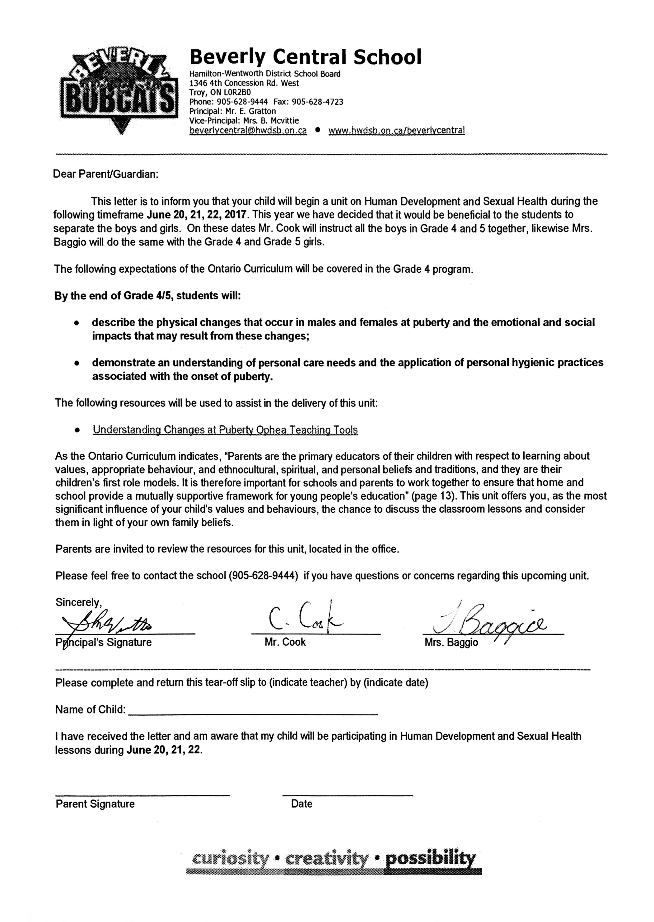 cover letter hwdsb