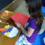 Callie builds her sundae.