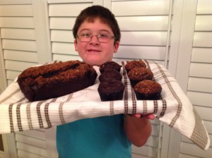 The young chef was very proud of his creations.  Double chocolate!!!