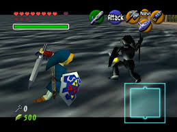 This photo shows the battle between Link and the Water Temple's mini-boss, Dark Link. Photo from: http://www.vizzed.com/play/legend-of-zelda-the-ocarina-of-time-n64-online-nintendo-64-9066-user-screenshots