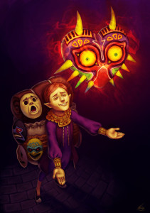 The Happy Mask Salesman and the Majora's Mask. Photo from: http://natsmall.deviantart.com/art/Happy-mask-salesman-203624286