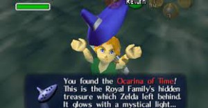 This photo shows Link obtaining the Ocarina of Time. Photo from: http://www.fanpop.com/clubs/the-legend-of-zelda/images/22102226/title/loz-ocarina-time-gifs-fanart