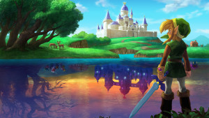 Link looking at Hyrule (top) and Lorule (bottom). Photo from: http://zelda.com/link-between-worlds/