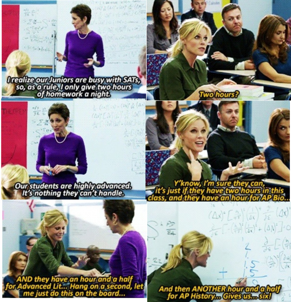 (Read from left to right) Claire Dunphy From Modern Family Giving Teacher Homework Rant