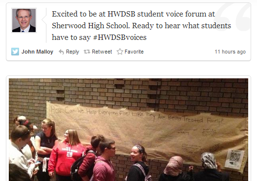 Documenting the Voices: Twitter Archive (South Cluster) #HWDSBvoices