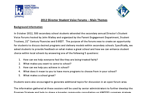 2012-2013 Student Voice Forums Results