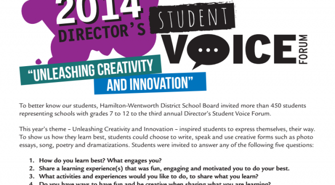 2014 Student Voice Forums Results