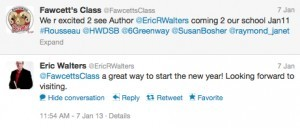 tweet to Eric Walters #1 plus response