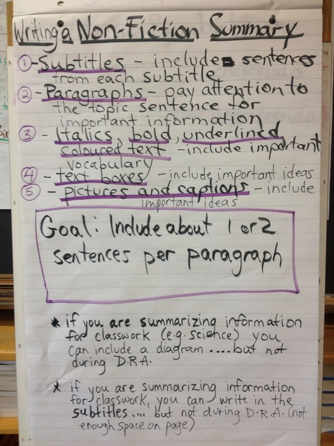 April2 2013 Non Fiction Summary ANCHOR CHART