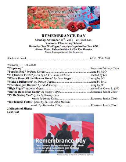 Rousseau Remembrance Day Program