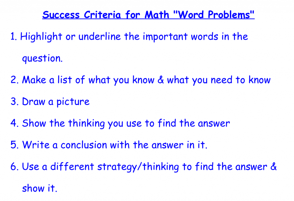 Jan21 2015 Gr5 Success Criteria - Word Problems