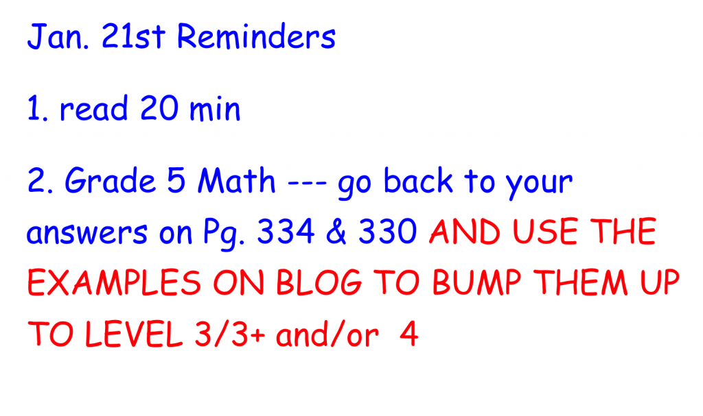 Jan21 2015 Reminders