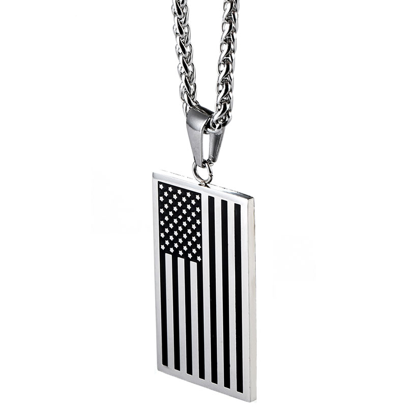 gold mens gift titanium flag fashion cool pin sliver steel american pendant necklace