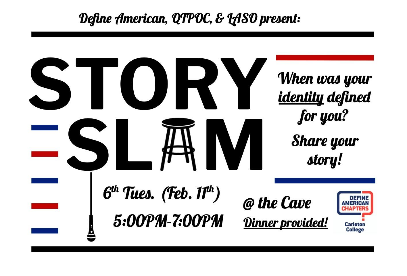 A graphic inviting Carleton College chapter members to a Story Slam. The A in Slam is a chair and a mic dangles from the S.