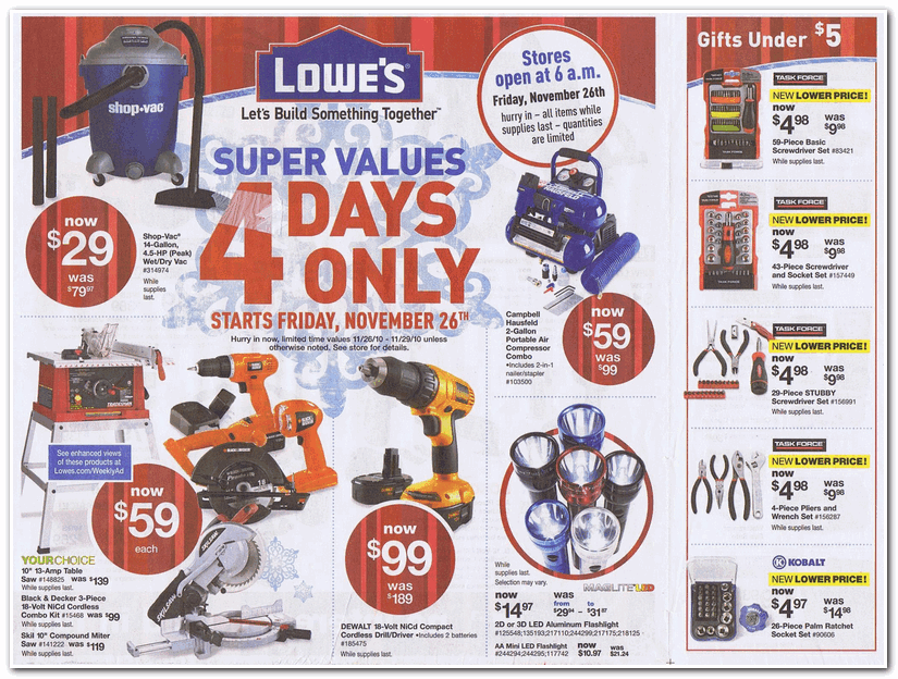 Lowe S 2010 Black Friday Ad Black Friday Archive Black Friday Ads From The Past
