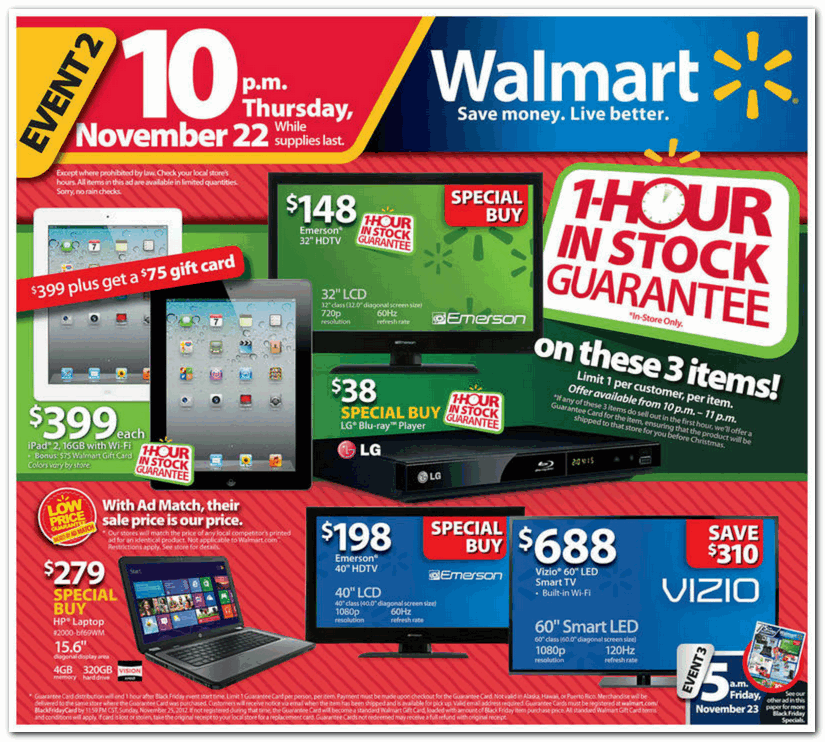 Walmart 2012 Black Friday Ad Black Friday Archive Black Friday Ads From The Past
