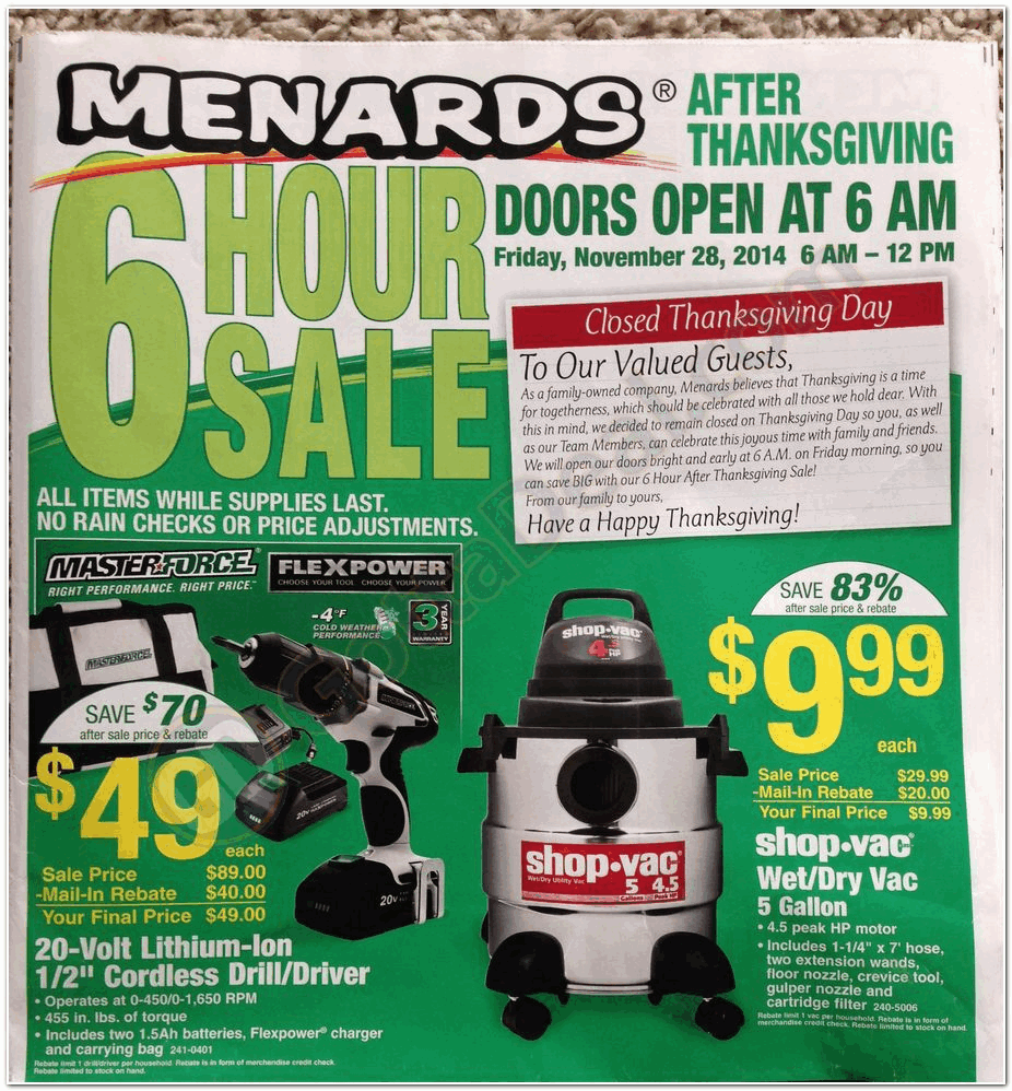 Menards 2014 Black Friday Ad Black Friday Archive Black Friday Ads From The Past