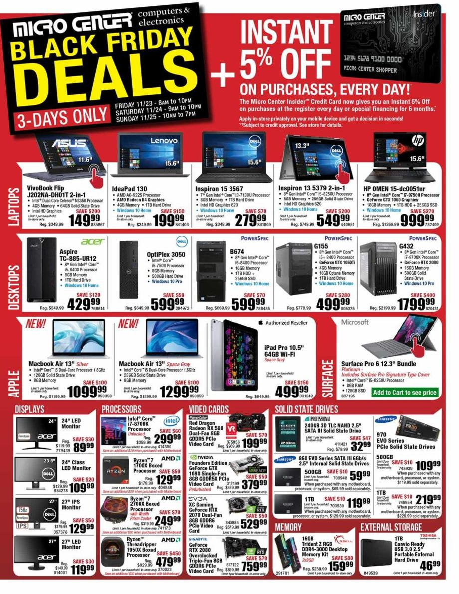 Micro Center 2018 Black Friday Ad Black Friday Archive Black Friday Ads From The Past